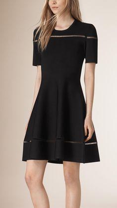 Open Stitch Lace Detail A-Line Dress | Burberry