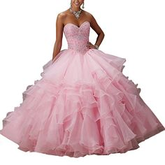 b5d59a29b73 Abaowedding Women s Sweet 16 Ball Gown Puffy Long Quinceanera Dress with  Beads at Amazon Women s Clothing store