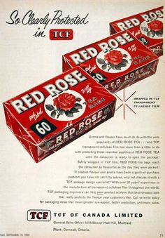 A lovely Red Rose Tea ad from 1955 (this company, which is still going strong today, is Canadian and has been in business since the My favorite tea, I have it imported 3 boxes at a time! Vintage Advertisements, Vintage Ads, Vintage Prints, Vintage Stuff, I Am Canadian, Canadian Food, Red Rose Tea, Cuppa Tea, Tea Tins