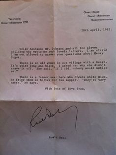 """Roald Dahl's Weird And Hilarious Letter To A Class Of Children        --When a group of students sent a letter to Roald Dahl asking him questions about his short story collection """"The Wonderful Story of Henry Sugar and Six More,"""" this was the author's response. What a weird, hysterically funny man."""