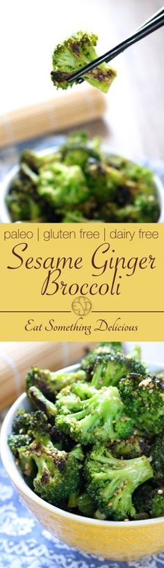 Sesame Ginger Broccoli | Paleo and vegan friendly broccoli sautéed with coconut aminos, garlic, and ginger then garnished with sesame seeds. Serve as a side or with meat for a meal. | eatsomethingdelic...