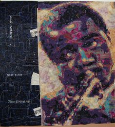 Louis Armstrong's piece is made of thousands of pieces of fused batik fabric pieces and took 800 hours to complete.  The left side of the image is a cityscape panel that was designed by Gwen Gwinner of Ohio.  It highlights some of the cities where he performed and she even added tickets to his performance in the seams.