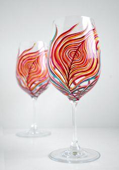 Neon Peacock Feather Wine Glasses -  Hand Painted Wine Glasses by MaryElizabethArts.com