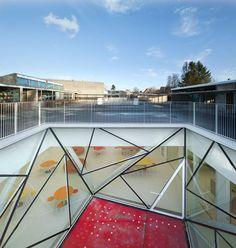 Courtyard view. Munkegaard School by Dorte Mandrup Arkitekter. Photograph © Adam Mørk.