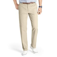 Men's IZOD Slim-Fit Flat-Front Saltwater Chino Pants, Size: 36X32, Med Beige