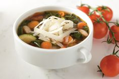 This hearty soup has many layers of delicious flavor, is loaded with savory vegetables and protein-packed beans and gets a unique, sharp flavor boost from the Asiago – which sets it apart from the usual minestrone soup recipes.