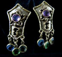 Goldette Signed Earrings Lovely Vintage Gold Tone Rhinestone Dangle | eBay