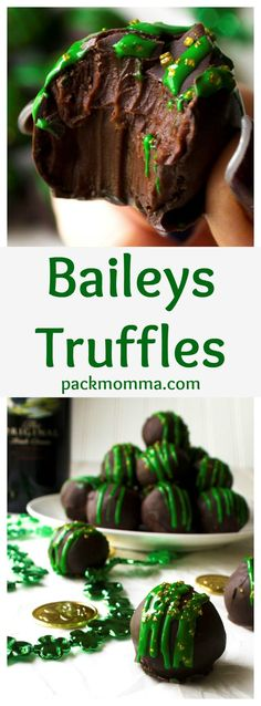 Baileys Truffles | Baileys Truffles are rich, decadent, indulgent and addictive! These are the perfect sweet chocolate treat to add to any St.Patrick's Day celebration. | Pack Momma | www.packmomma.com