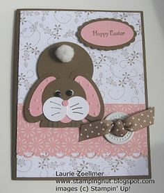 chocolate Easter bunny with pink adorable! Easter Projects, Easter Crafts, Easter Ideas, Diy Easter Cards, Chocolate Easter Bunny, Punch Art Cards, Scrapbook Cards, Scrapbooking, Diy Ostern