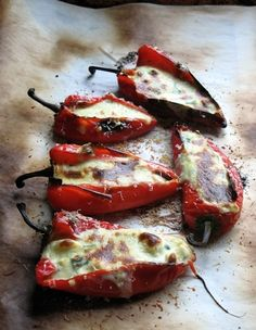 Peppers Stuffed with Feta (Piperies Gemistes me Feta) _ As for this week, I must tell you that if you have not picked up the latest issue of Saveur, you simply must do so! The magazine features the cuisine of Greece and there are some incredible recipes including this delicious recipe.