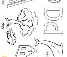 Alfabet - litera D - kolorowanki, malowanki dla dzieci do druku.