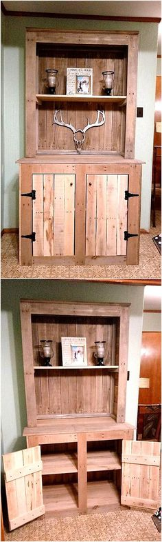 There are some things in a home that need to be decorated and also the things that require to be stored in a place with the door to avoid creating a mess, so this idea of creating wood pallets hand crafted wardrobe is best as it offers a place the decoration pieces and also a place to store items.