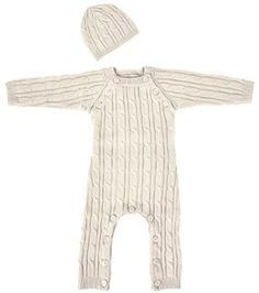 Tadpoles Cable Knit Romper and Hat Set, 0-3 Month, Cream