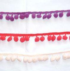 Medium Pompom Trim Metre - Pinks/Purples #craft