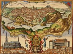 Map of Toledo in Spain, from Civitates Orbis Terrarum by Georg Braun and Franz Hogenberg, Vintage Maps, Antique Maps, Antique Prints, Historical Maps, Historical Architecture, Ancient Maps, Ancient History, Toledo Spain, Map Painting