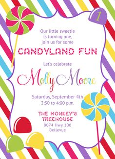 Gumball Machine and Candy Invitation Candy Birthday Party
