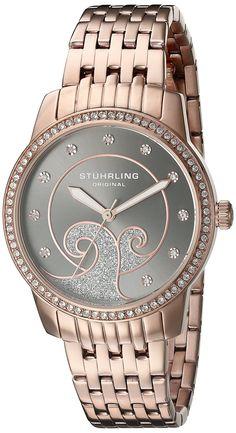 Stuhrling Original Women's 569.05 Coronet Quartz Swarovski Crystals Rose Tone Multi-Row Link bracelet Watch ** Check out this great watch.