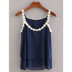 Daisy Lace Trimmed Layered Chiffon Cami Top - Navy ($7.99) ❤ liked on Polyvore featuring tops, navy, navy blue cami, cami tank, navy tank, chiffon tank top and ruffle tank top