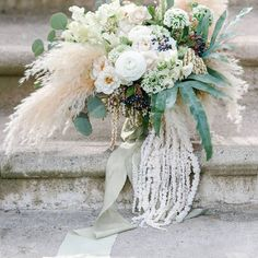 Fluffy As A Cloud Wedding Bouquet ~ Such texture! Who knew amaranthus came in white? (Bleached and preserved) so cool ~ Scarlett & Grace Trailing Bouquet, Flower Bouquet Wedding, Bridal Bouquets, Flower Bouquets, White Bouquets, Garden Wedding Inspiration, Wedding Ideas, Wedding Trends, Wedding Stuff