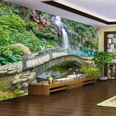 Cheap wall paper, Buy Quality mural directly from China mural wallpaper Suppliers: beibehang Custom Any Size Mural Wallpaper Small Bridge Running Water Waterfall Nature Landscape Photo Background Wall Papers 3d Wallpaper Green, 3d Wallpaper For Walls, Floor Wallpaper, Floor Murals, Wall Murals, Waterfall Wallpaper, Photo Mural, Water Walls, Modern Landscaping