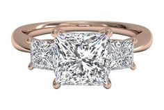 Three-Stone Diamond Engagement Ring with Princess-Cut Side-Diamonds - in Rose Gold (0.38 CTW)