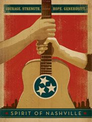 Spirit of Nashville: Courage. Strength. Hope... - This design was originally created to raise fiunds for flood victims. After selling out of the first edition prints and raising over $35,000 for charity, people continued to ask us for this design. So we took away the flood waters and re-issued the printnow that the waters have dried up, it stands for more than flood reliefit represents the true Spirit of NashvilleCourage, Strength, Hope  Generosity.