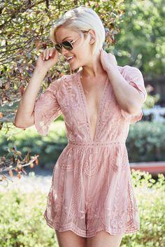 fa73cec651c Elegant Lace Romper - Blush Pink Romper - V-Neck Romper - Short Sleeve  Romper