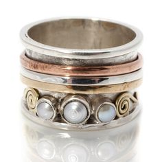 Chunky Pearl Silver Spinning Rings by Charlotte's Web | Charlotte's Web