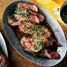 Tri-Tip with Chimichurri—The tri-tip is a tender, triangular cut of beef tucked near the sirloin. There are only two per steer, so if your butcher is out, go with sirloin to accompany this chimichurri. Chimichurri, Grilled Steak Recipes, Grilled Meat, Grilling Recipes, Grilled Steaks, Beef Steaks, Beef Marinade, Grilling Ideas, Healthy Recipes