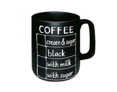 Original taza pizarra, se puede escribir en ella para no olvidar lo que tienes que comprar.