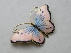 Sterling Silver 925s Norway Enamel Butterfly Brooch from Norway