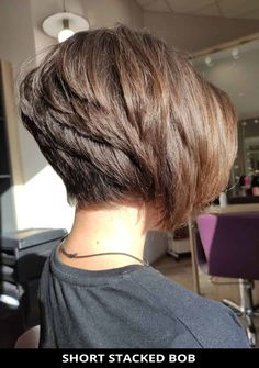 Get this striking Short Stacked Bob if you need a fresh style! Need more hair inspo like this? Tap visit to see all of 28 modern stacked bob haircuts for an instant new look. // Photo Credit: @lara_stelmashuk on Instagram Stacked Bob Hairstyles, Bob Hairstyles With Bangs, Bob With Bangs, Latest Hairstyles, Bob Haircuts, Short Stacked Bobs, Trending Haircuts, Hair Inspo, Hair Type