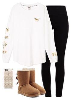 """""""getting in the Christmas spirit!"""" by morganburleigh ❤ liked on Polyvore featuring Pieces, Victoria's Secret PINK, UGG Australia and Casetify"""