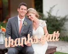 Thank you sign wedding photo props are perfect for sending personalized thank you cards after your wedding. This fun wedding thank you sign will make your wedding pictures unique and memorable showing of the happy couple saying thank you and is available in several beautiful styles and colors. These thank you signs are also great for baby shower thank you cards and many other occasions!  **AS SEEN IN SOUTHERN WEDDINGS MAGAZINE V6!**  Our painted photo props have a matte finish so that they…