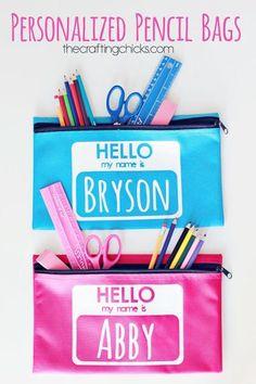 DIY Personalized Pencil Bags #backtoschool