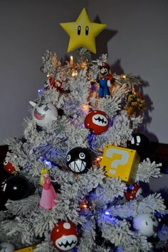 Original Mario Bros Perler Bead Star Christmas Tree