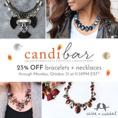 Here's a spooky thought: missing our #candibar — 25% OFF bestselling necklaces + bracelets. Luckily, there's still time to scare up some sweet savings up on my boutique now!