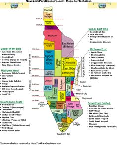 New York City Tourist Map with Neighborhoods and Attractions | Nyc ...