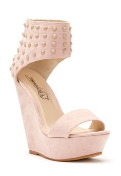 Pink Suede Studded Wedges
