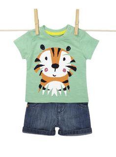 Baby Boys Green Tiger Shorts Set