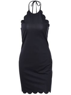 Bodycon Dresses | Fashionable Halter Petaline Type Backless Dress For Women #summer #fashion #black #dress