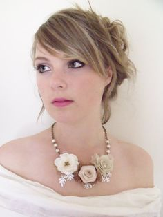 Romantic cream rose necklace by TatterAndWild on Etsy