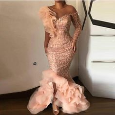 Elegant Sparkle Beaded Mermaid Evening Dresses Ruffles One Shoulder Sequined Long Prom Gowns Sexy Party Dress Robe de soiree Aso Ebi Lace Styles, African Lace Styles, Lace Dress Styles, African Lace Dresses, Latest African Fashion Dresses, Nigerian Lace Dress, Nigerian Dress Styles, Nigerian Wedding Dress, Dinner Gowns