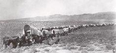 Wagon train photographed on the California Trail.