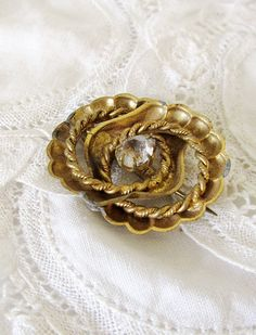 Antique Nautical Shell and Twisted Wire Brass Pin with Glass Paste Stone TLC