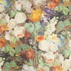 Tissu fleuri imprimé sur lin Cezanne, James Malone.