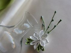 Hair pin White Lime Green Kanzashi Flower by LihiniCreations