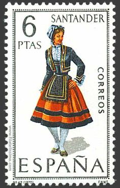 Collection of Spanish stamps: 1970 Santander Postage Stamp Design, Postage Stamps, Stamp Values, Postage Stamp Collection, Love Stamps, Traditional Fashion, Folk Costume, Stamp Collecting, My Stamp