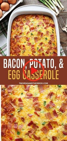An easy breakfast casserole with bacon, potatoes, and eggs that is a sure crowd pleaser! This brunch recipe is the perfect way to spend your busy weekdays deliciously. Bake this easy recipe for the kids! Recipes casserole Bacon, Potato, and Egg Casserole Breakfast Desayunos, Breakfast Casserole Easy, Breakfast Dishes, Hashbrown Breakfast, Breakfast Potatoes, Breakfast Ideas With Eggs, Brunch Egg Dishes, Brunch Food, Recipes With Bacon Breakfast