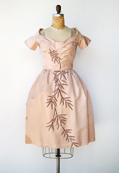 vintage 1950s pink duchess silk beaded cocktail dress